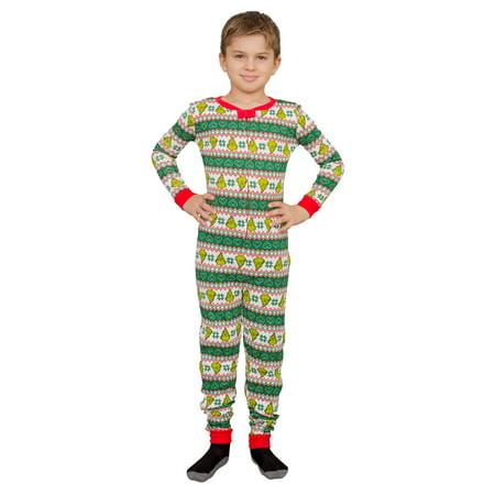 Childrens Christmas Pajamas (Grinch Family Faces Christmas Green and White Kids Pajama Union)