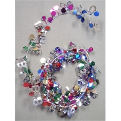 Party Deco 04780 9 ft.  Multi 80 Birthday Wire Garland - Pack of 12