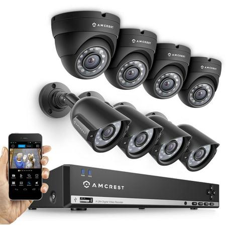 Amcrest 960H 8CH 1TB DVR Security Camera System w/ 4 x 800+ TVL Bullet Cameras & 4 x 800+ TVL Dome Cameras