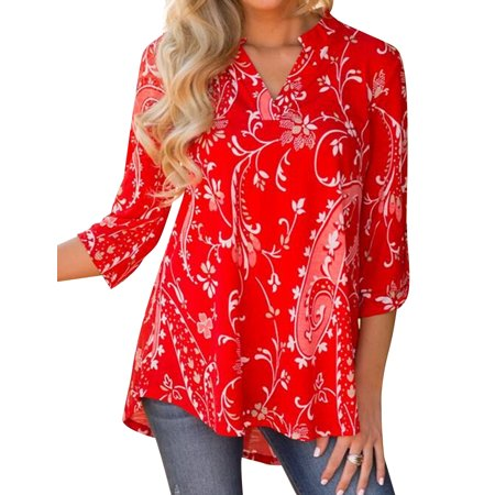 Nlife Women Bohemian 3/4 Sleeve V Neck Floral Print (Shirts And Tops)