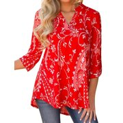 Nlife Women Bohemian 3/4 Sleeve V Neck Floral Print Shirt
