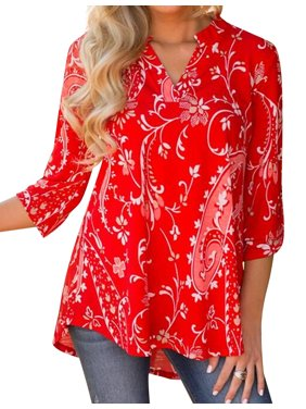 5e93326247993 Product Image Nlife Women Bohemian 3/4 Sleeve V Neck Floral Print Shirt