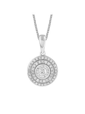 Sterling Silver 1/3 CTTW Diamond Double Halo Pendant Necklace