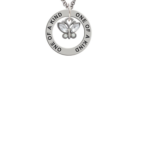 Mini Butterfly with Clear Wings & Crystals One of a Kind Affirmation Ring Necklace