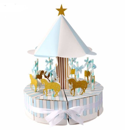 Carousel Baby Shower Candy Favor Boxes Unicorn Party Supplies Candy Bag Gift Box Table Centerpiece for Wedding Birthday Decorations