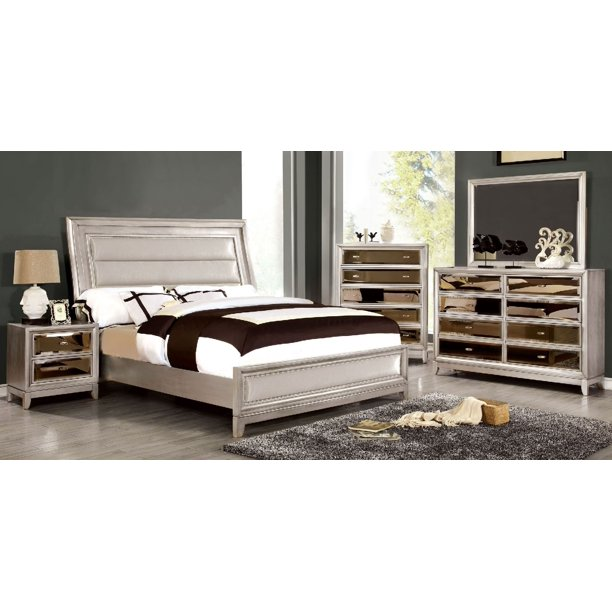 New Bedroom Furniture Classic Luxury Look Contemporary California King Size Bed Dresser Mirror Nightstand 4pc Set Silver Finish Padded Leatherette Hb Fb Walmart Com Walmart Com