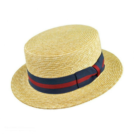 Striped Band Wheat Straw Skimmer Hat - XXL - Natural ()