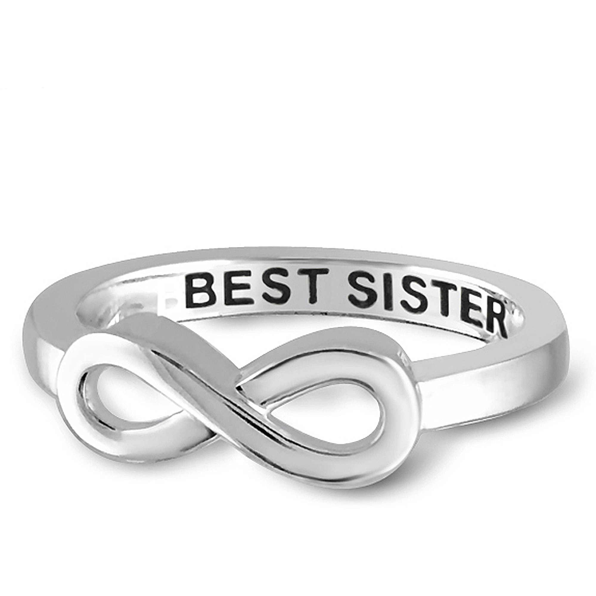 "JewelersClub ""Best Sister"" Infinity Ring In Sterling Silver"