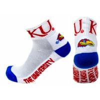 Kansas Jayhawks White Quarter Blue Heel Toe Sock