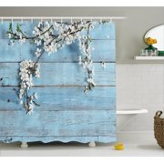Blue bathroom sets rustic home decor shower curtain a branch with spring flowers on wooden fragility symbol of aloadofball Choice Image