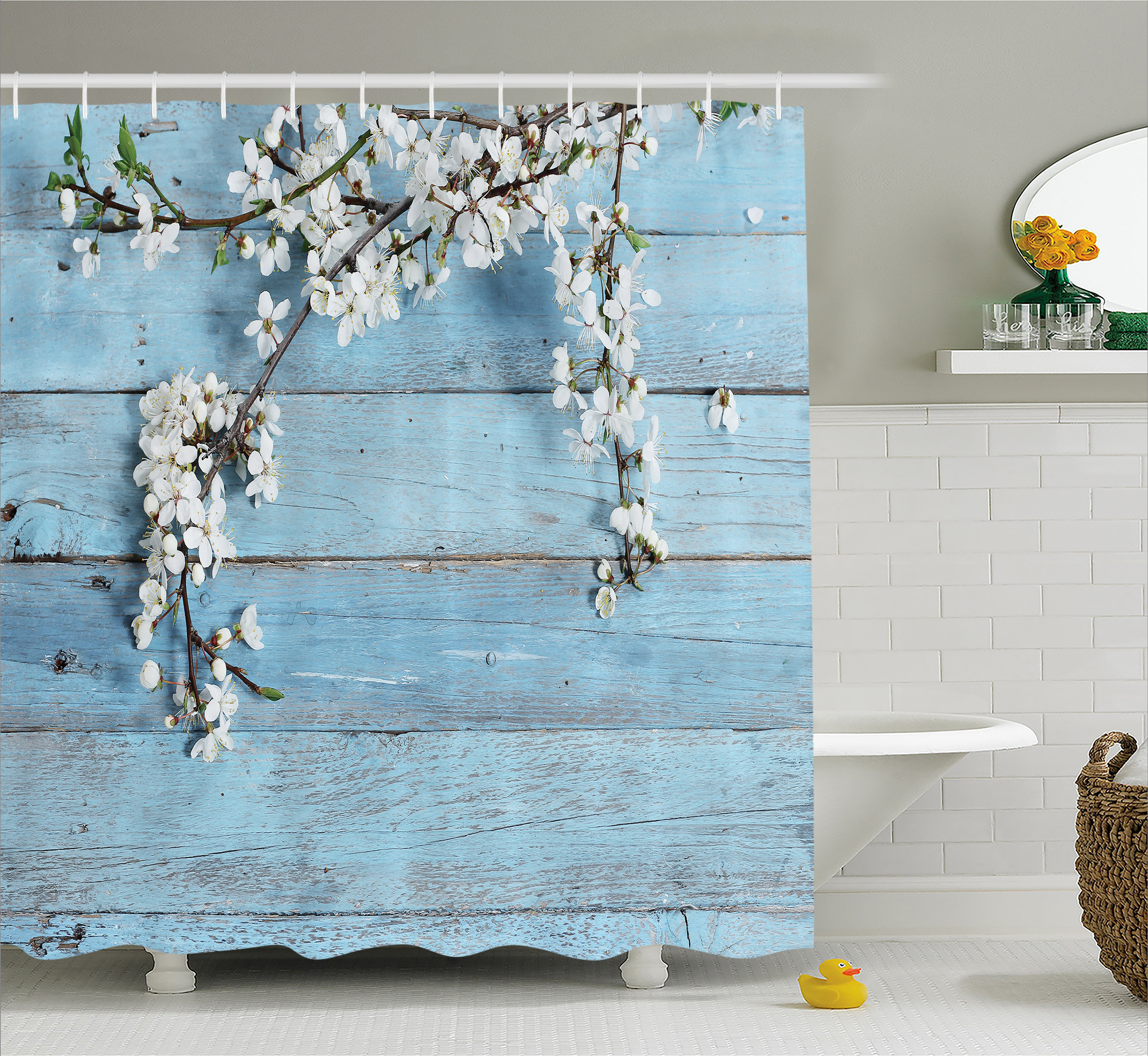 Rustic Home Decor Shower Curtain, A Branch With Spring Flowers On Wooden  Fragility Symbol Of