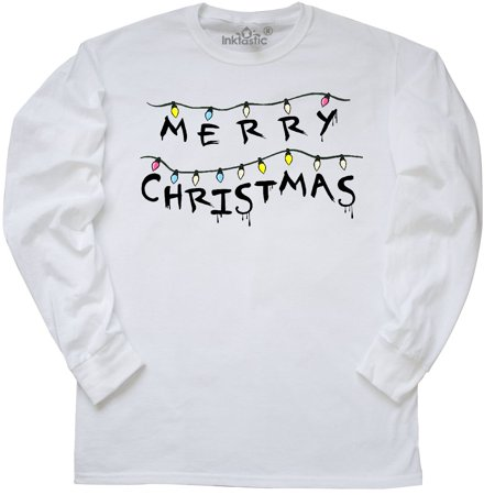 Inktastic Merry Christmas With Strange Lights Long Sleeve T Shirt Holidays Down