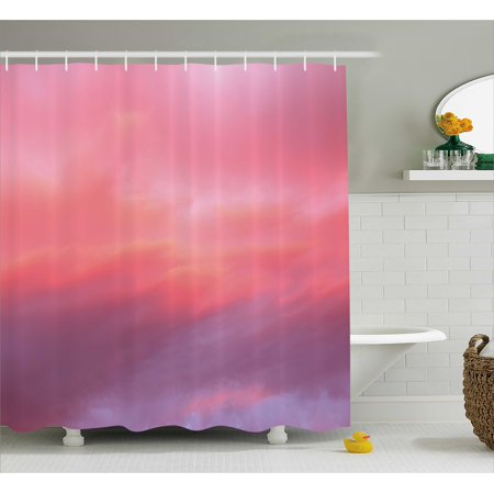 Coral Shower Curtain Beautiful Vanilla Sky With Clouds Tenderness Dreamy Unreal Soft Heavenly Fabric Bathroom Set Hooks Pale Pink Lilac