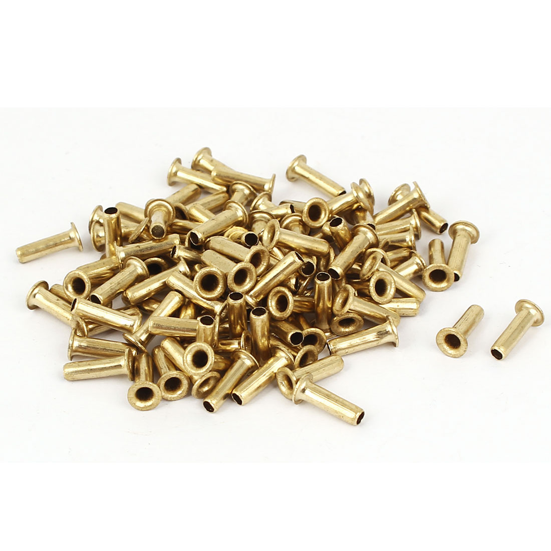 3mm x 10mm Double Sided Brass Plated Hollow Rivets Grommets Gold Tone 100 Pcs
