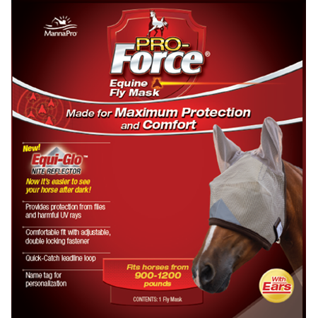 Draft Horse Fly Mask - Manna Pro Pro-Force Equine Fly Mask with Ears