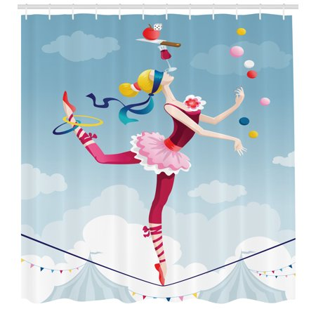 Circus Shower Curtain, Graphic Circus Performer Woman Juggling with Balls Standing on Wire as Blindfolded, Fabric Bathroom Set with Hooks, 69W X 75L Inches Long, Multicolor, by Ambesonne](Shower Juggling)