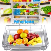 OTVIAP Stainless Steel Pull-out Cabinet Basket Organizer for Dish Bowl Pan Household, Sturdy Pull-out Basket, Pull-out Organizer