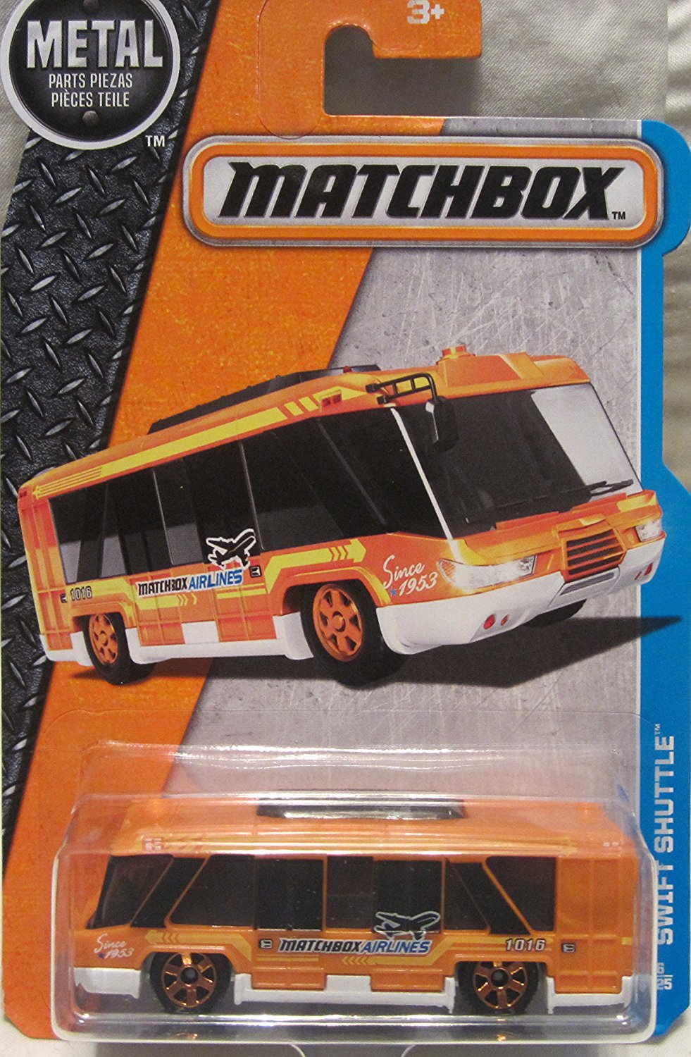 2016 MBX Adventure City Swift Shuttle Airport Shuttle Bus 6 125, Orange, 1:64 scaled... by