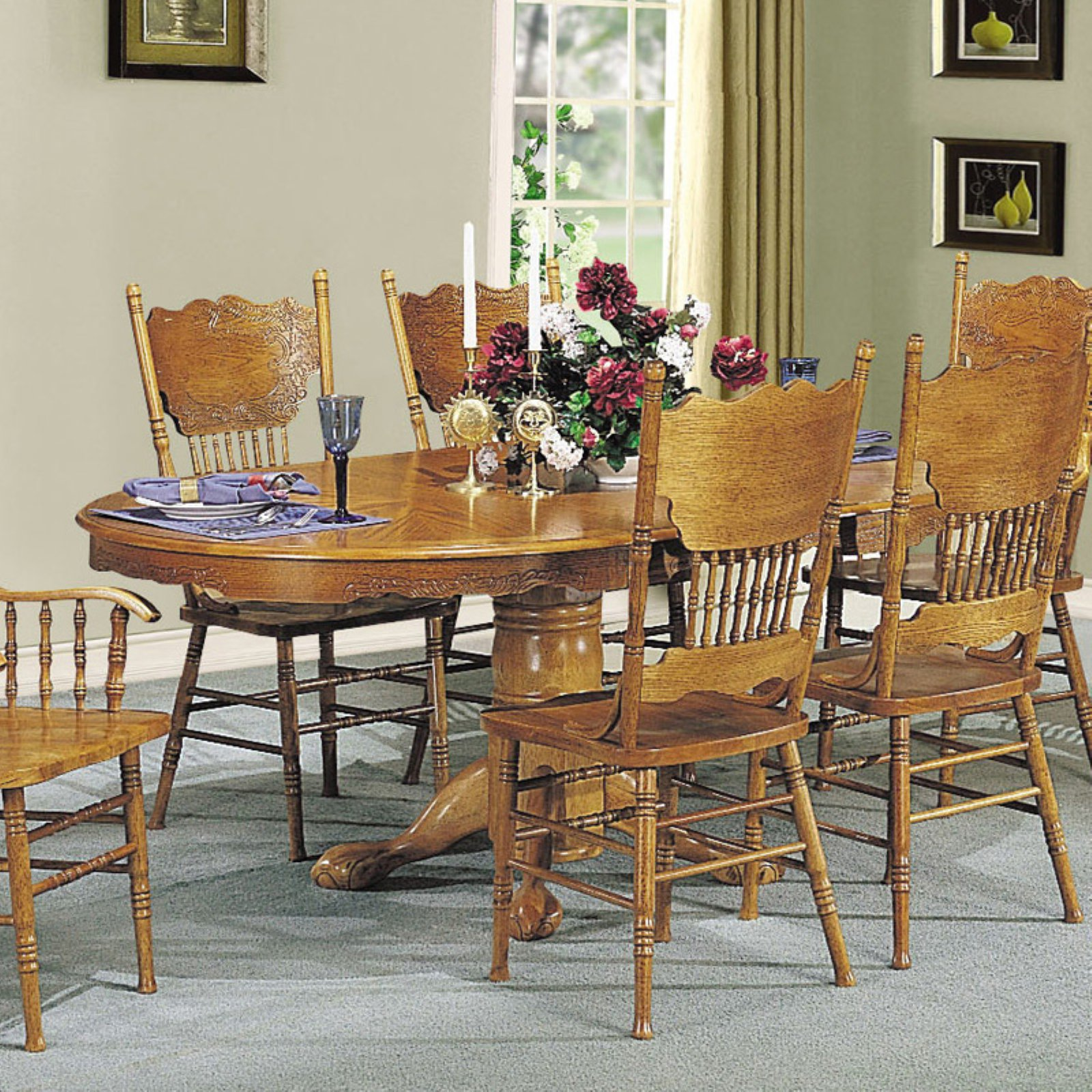 ACME Nostalgia Dining Table with Pedestal, Oak