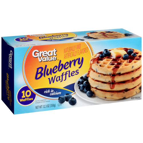 Great Value Blueberry Waffles, 10 count, 12.3 oz