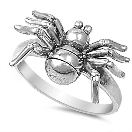Spider Creepy Animal Large Halloween Ring ( Sizes 5 6 7 8 9 10 ) .925 Sterling Silver Band Rings by Sac Silver (Size 8)](Spider Rings Bulk)