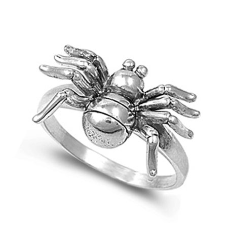 Spider Creepy Animal Large Halloween Ring ( Sizes 5 6 7 8 9 10 ) .925 Sterling Silver Band Rings by Sac Silver (Size - Spider Ring
