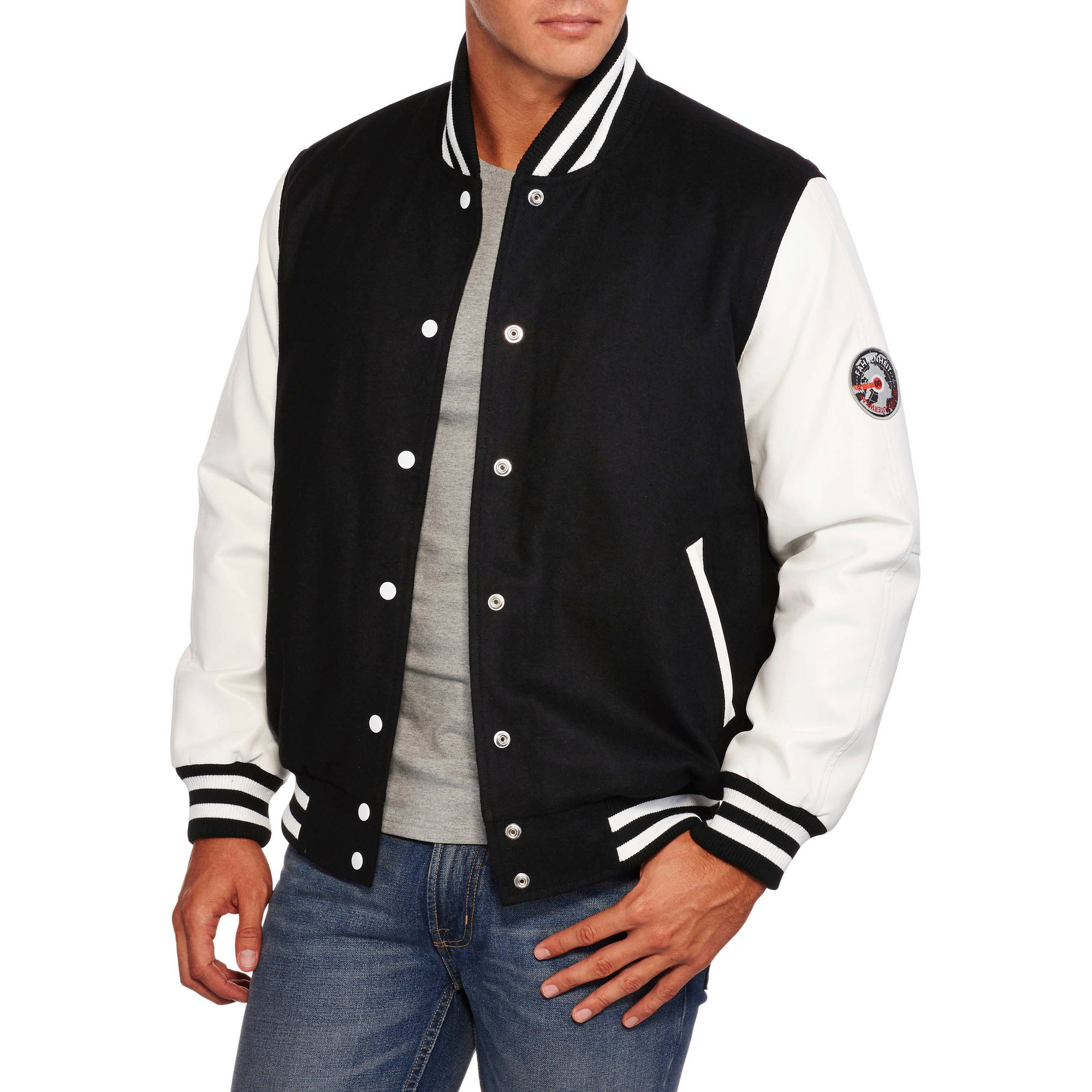 Men's Wool Blend Bomber Jacket with PU Sleeves
