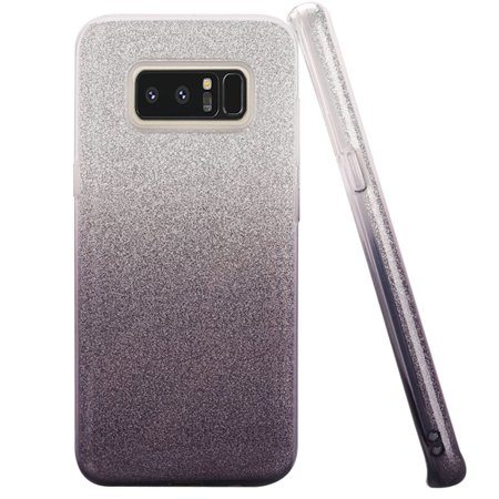 HR Wireless Two Tone Glitter Hard Plastic/Soft TPU Rubber Case Cover For Samsung Galaxy Note 8, -