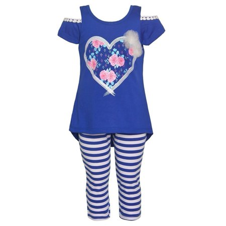 Girls Potato - Littoe Potatoes Little Girls Royal Blue Heart Stripe 2 Pc Legging Set