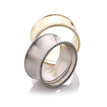 LivingQuarters Beaded Elegance Napkin Ring Nickel, Brushed nickel or gold By Living Quarters Ship from US](Gold Napkin Rings)