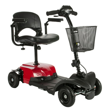 Drive Medical Bobcat X4 Compact Transportable Power Mobility Scooter, 4 Wheel, Red