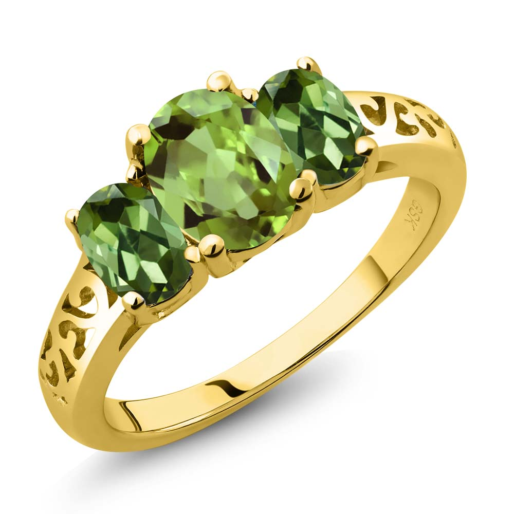 2.33 Ct Oval Green Peridot Green Tourmaline 18K Yellow Gold Plated Silver 3-Stone Ring by