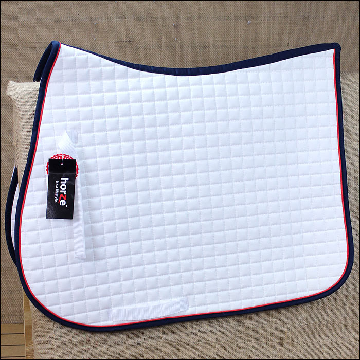 FULL HORZE RIVER ALL PURPOSE HORSE NYLON SADDLE PAD BILLETS STRAP WHITE BLUE by HORZE