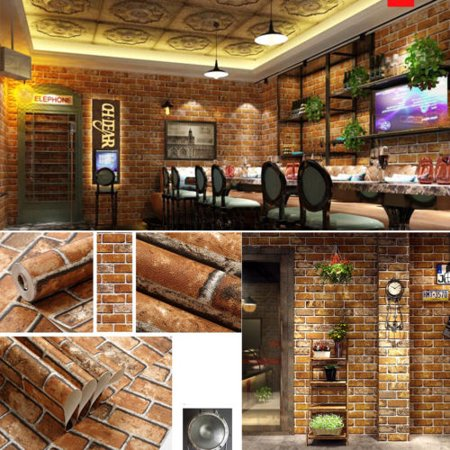 PVC Vinyl Modern Faux Brick Stone Textured Wallpaper Roll Beige/Grey/Brown Brick Blocks Home Room Decoration