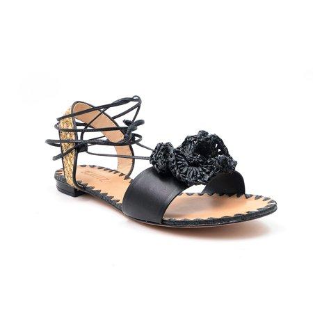 Schutz Womens Kenzie Black Flats Open Toe Flowered Insole Wrap Around Tie Sandal