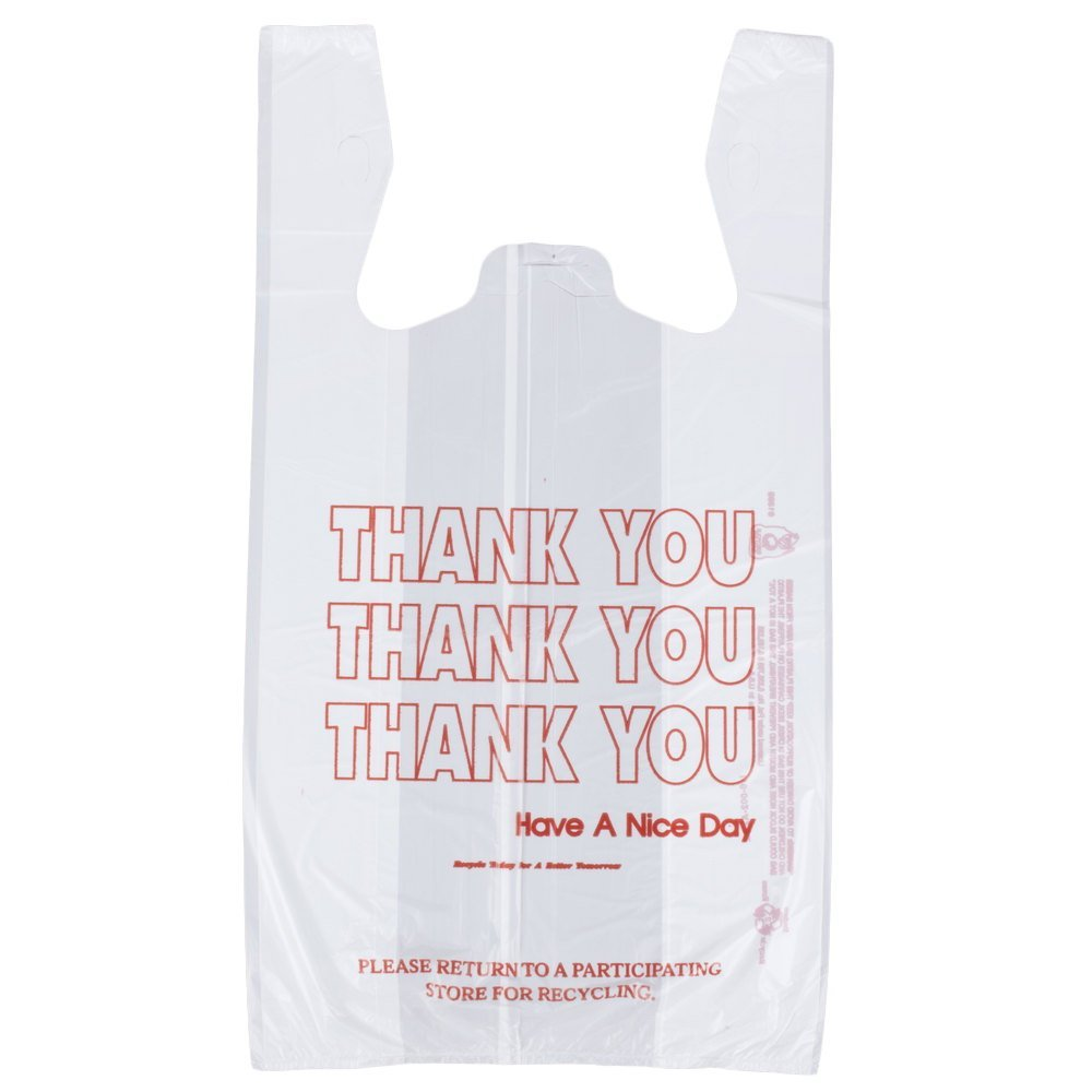 Rainbow 1/6TY1000, 1/6-Size White Plastic T-Shirt Shopping Bags, 0.51 mil Polyethylene Grocery Bags, 800-Piece Case