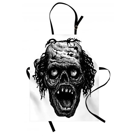 Halloween Apron Zombie Head Evil Dead Man Portrait Fiction Creature Scary Monster Graphic, Unisex Kitchen Bib Apron with Adjustable Neck for Cooking Baking Gardening, Black Dark Grey, by Ambesonne](Scary Halloween Main Dishes)