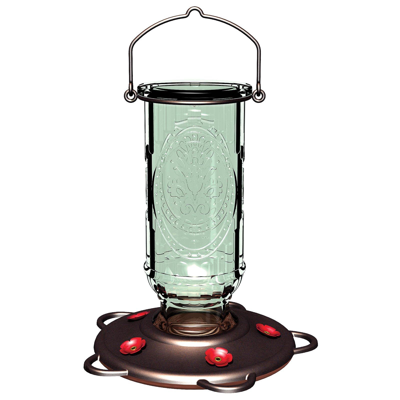 More Birds Hummingbird Glass Bottle Feeder, 5 Feeding Stations, 20-Ounce Nectar Capacity, Vintage Antique Style
