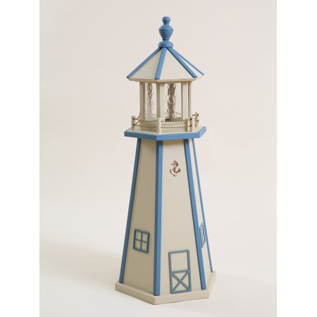 3 Foot Beige & Sky Blue Wooden Lighthouse w/ Standard Electric Light - Amish - Amish Lighthouse