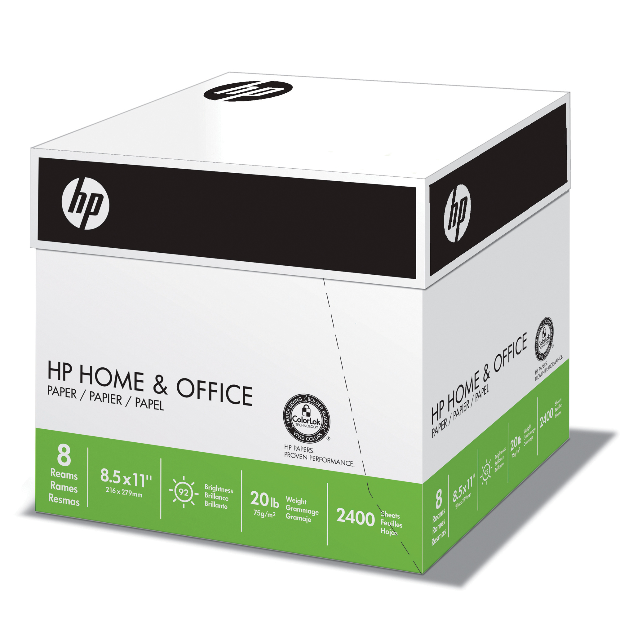 HP Paper, Home & Office Paper, 20lb, Letter, 92 Bright, 2400 Sheet / 8 Pack Case (200300C)