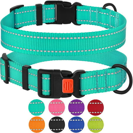 Reflective Dog Collar Safety Nylon Collars for Medium Dogs with Buckle, Mint Green
