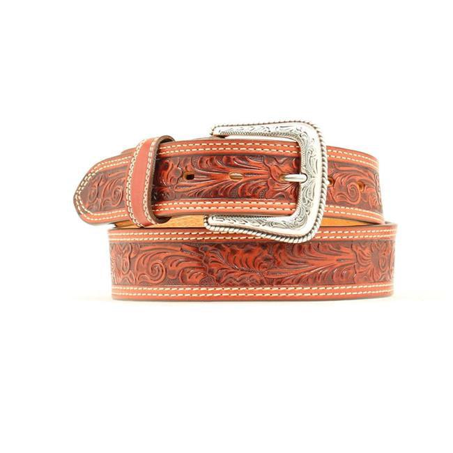 Nocona Men/'s Tri-Color Floral Tooled Belt N2415067