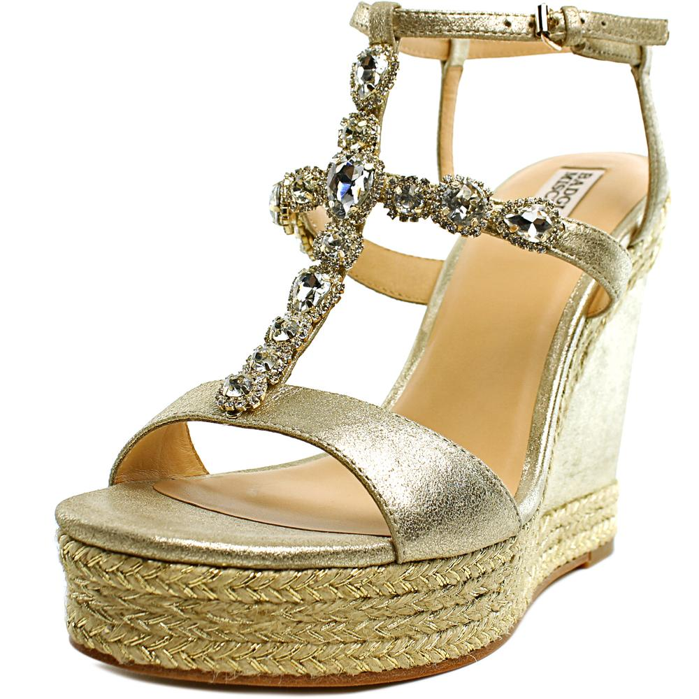 Badgley Mischka Coco Open Toe Leather Wedge Heel by Badgley Mischka