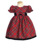 Made in the USA - Red Plaid Baby Holiday / Christmas Girls' Dress w/ Velvet Trim