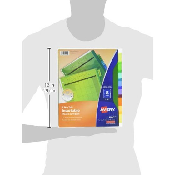 Big Tab Insertable Plastic Dividers 5 Multicolor Tabs 1 Set 11900