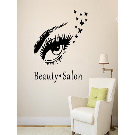 Beauty Salon Eyes Silhouette Wall Sticker Decals Home Decor ()