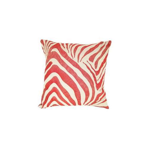 Design Accents KSS-0126-Zebra-Red 22 inch x22 inch Cotton Linen Zebra Pillow - Red