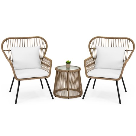 Best Choice Products 3-Piece Outdoor All-Weather Wicker Conversation Bistro Furniture Set for Patio, Garden, Backyard w/ 2 Chairs, Glass Top Side Table, Weather-Resistant Seat & Back Cushions - Tan