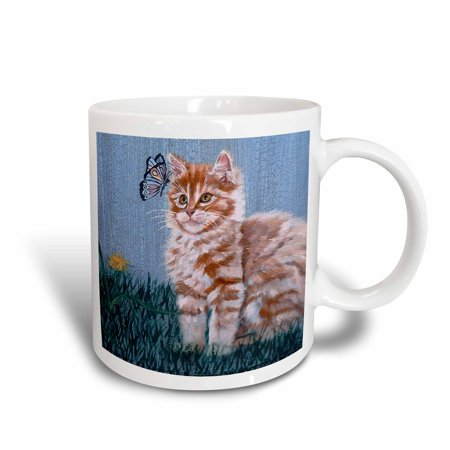 3dRose Orange and White Striped Tabby Kitten Staring at Butterfly with Blue Crackled Background, Ceramic Mug, 11-ounce