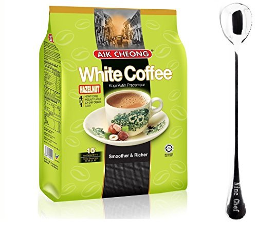 Aik Cheong Instant 4in1 White Coffee with Hazelnut Kopi Putih Pracampur (1 Pack)+ one NineChef Spoon